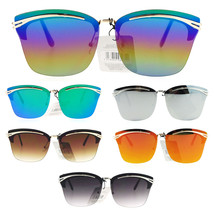 Womens Colored Mirror Rimless Butterfly Diva Oversize Sunglasses - £9.29 GBP