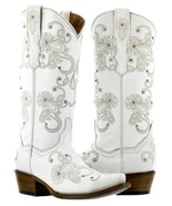 Cowboy Boots Women Wedding I Do Rhinestones Floral Paisley White Snip Toe - €127,00 EUR
