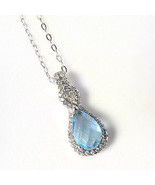 Sterling Silver Pendant Made With Pear Shape Blue Topaz Swarovski Elemen... - $14.84
