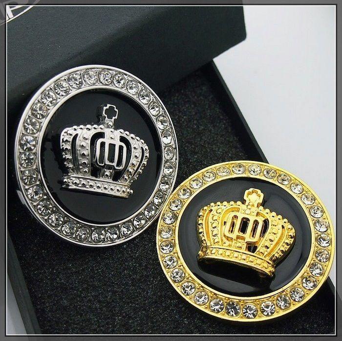 Car Metal Crystal Bonnet Badge Emblem Luxury VIP Crown 3D
