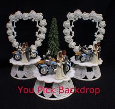 Wedding Cake Topper w/2 Harley Hogs Davidson Motorcycles African-American black - $36.68+