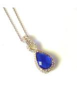 New Sterling Silver Pendant Made Pear Shape Blue Sapphire Swarovski Elem... - $14.84