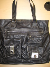 Kate Landry Black Leather Tote Handbag - $30.00