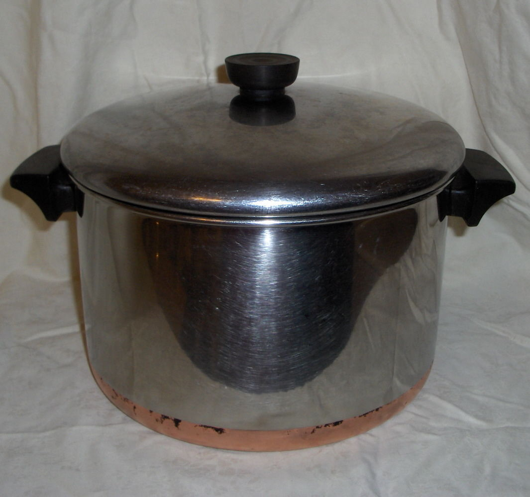 1982 Revere Ware 6 Quart Stainless Steel Copper Bottom Stock Pot and Lid