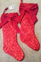 Hobby Lobby Elegant Red Christmas Stockings with Velvet Bow - Set of 2 - $16.44