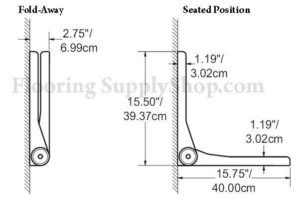 SerenaSeat Fold Down Seat 26 Powder Coat Grey