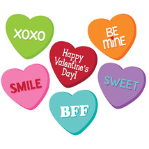 Candy Hearts Valentines Day 6 inch Cutouts Paper Party 6 Ct - $3.79