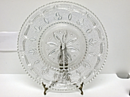 Vintage Clear Pressed Glass Beaded Thousand-Eyes Hobnail Daisy Serving P... - $25.00