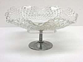 Vintage Square Diamond Cut Candy Nut Dish with Silver Pedestal 1930s  - ... - $35.00
