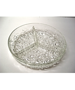 Vintage French Daisy and Button Clear Glass Divided Relish Tray - $18.00
