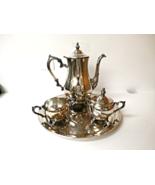 Vintage International Silver Co #1190 Tea Set Pot Creamer Sugar Bowl Tra... - $60.00