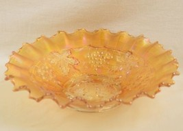 Vintage Northwood Marigold Carnival Glass Bowl Plate Dual Pattern Grape ... - $24.95