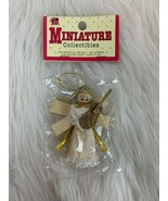 "Vintage Christmas Ornament Miniature Corn Husk Angel Guitar 3"" NIP Mange... - $14.80"