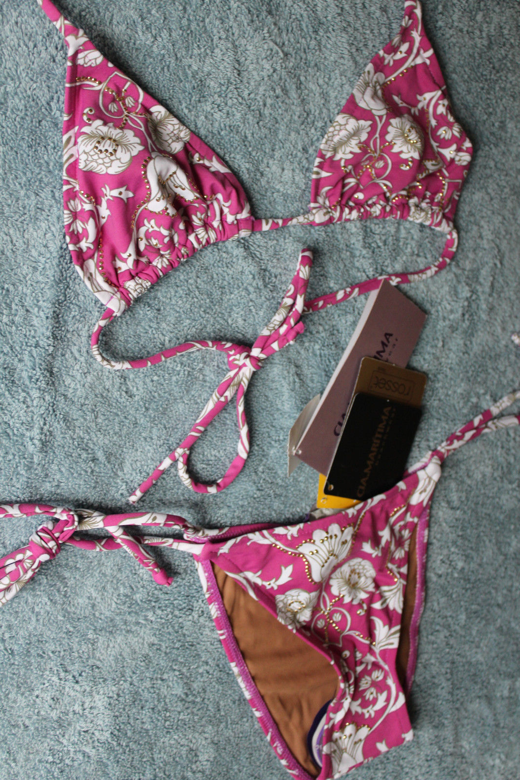 905c3db40d NWT CIA. MARITIMA Brazilian Sexy Rose Pink Triangle Bikini Swim Suit M 40  $180