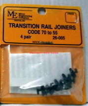 Micro Engineering~HO/HOn3/HOn2.5~Code 70->55 Transition Rail Joiners~Ins... - $8.00