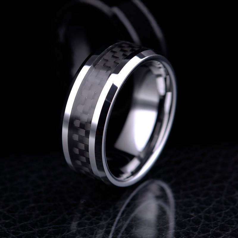 Tungsten Wedding Band Black Carbon Fiber Tungsten Ring Mens Wedding Ring