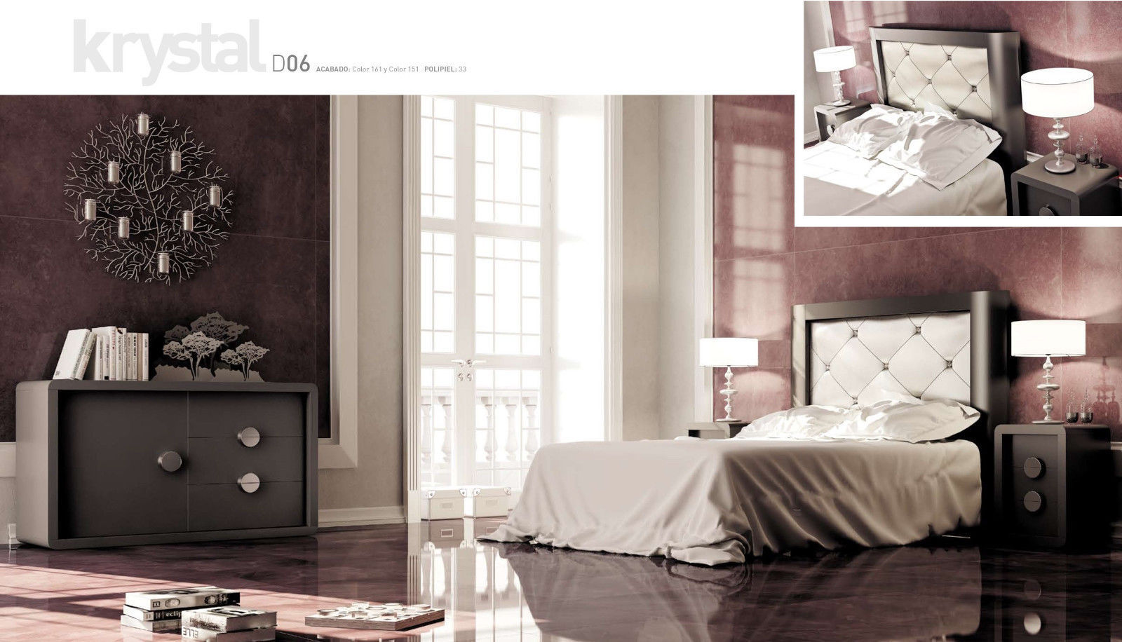 Krystal 05 Queen Size Bedroom Set Contemporary Modern Made in Spain