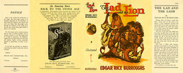 Burroughs, Edgar Rice. THE LAD and THE LION facsimile jacket  1st Burroughs - $21.56