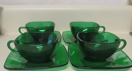 4 Anchor Hocking Forest Green Charm Cup & Saucer Sets Square - $26.13