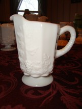 Vintage Westmoreland Milk Glass Creamer With Beaded Edge Grape Mint Condition - $8.99