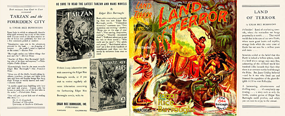 Burroughs, Edgar Rice. LAND OF TERROR facsimile dust jacket  1st Burroughs, Inc.