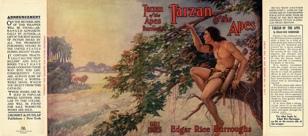 Burroughs, Edgar Rice. TARZAN OF THE APES facsimile dust jacket 1st Grosset ed.