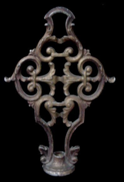 Antique Ornate Cast Iron Bridge Floor Lamp Shade Finial