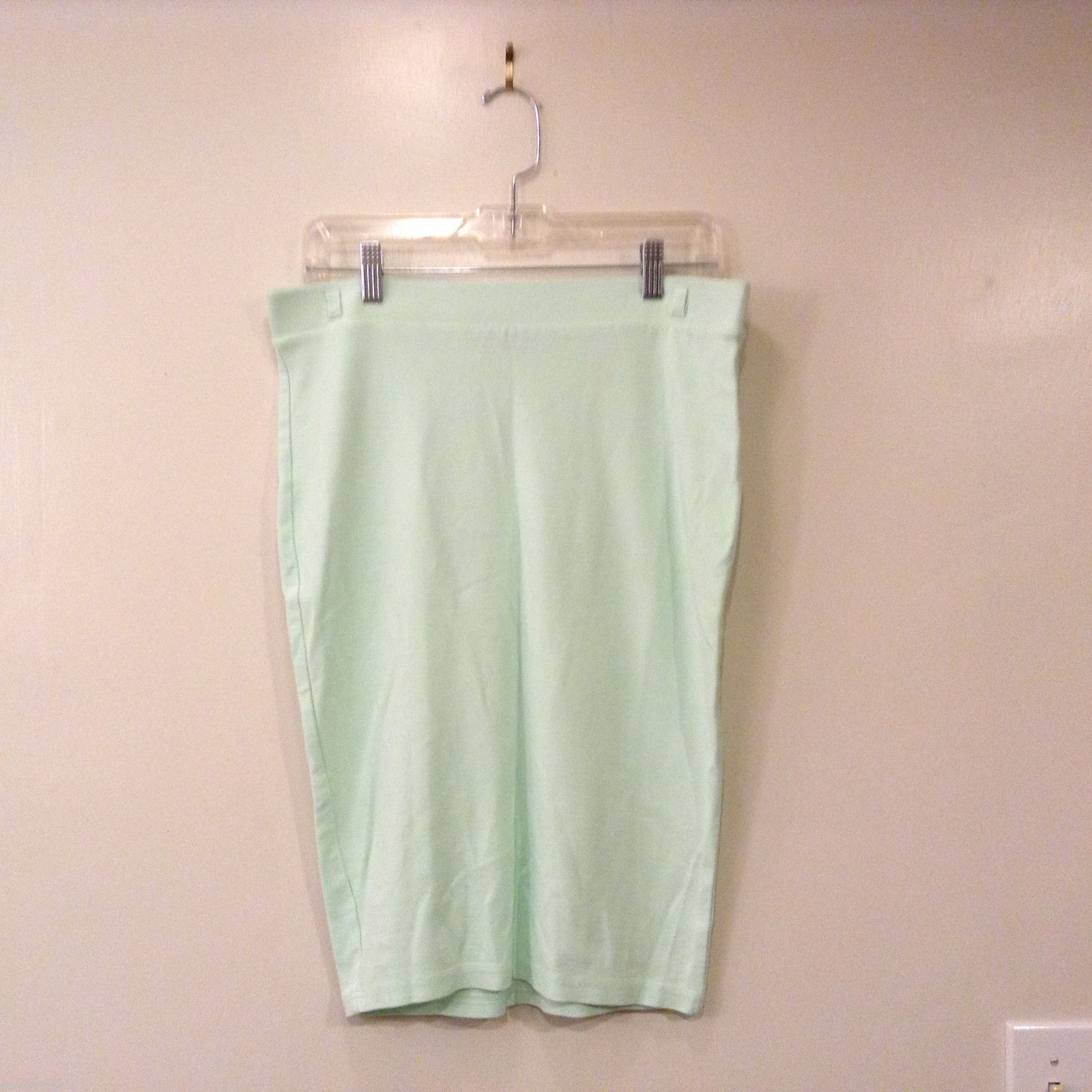 H&M Women Size L Pencil Bodycon Skirt Mint Pastel Green Stretchy Knit Belt-able