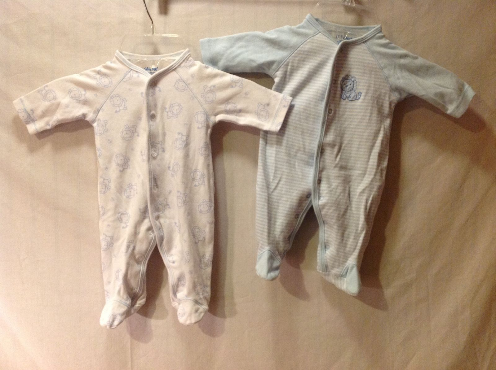 Little Me Baby Sleepers one piece Light Blue and White qty 2 Size Newborn