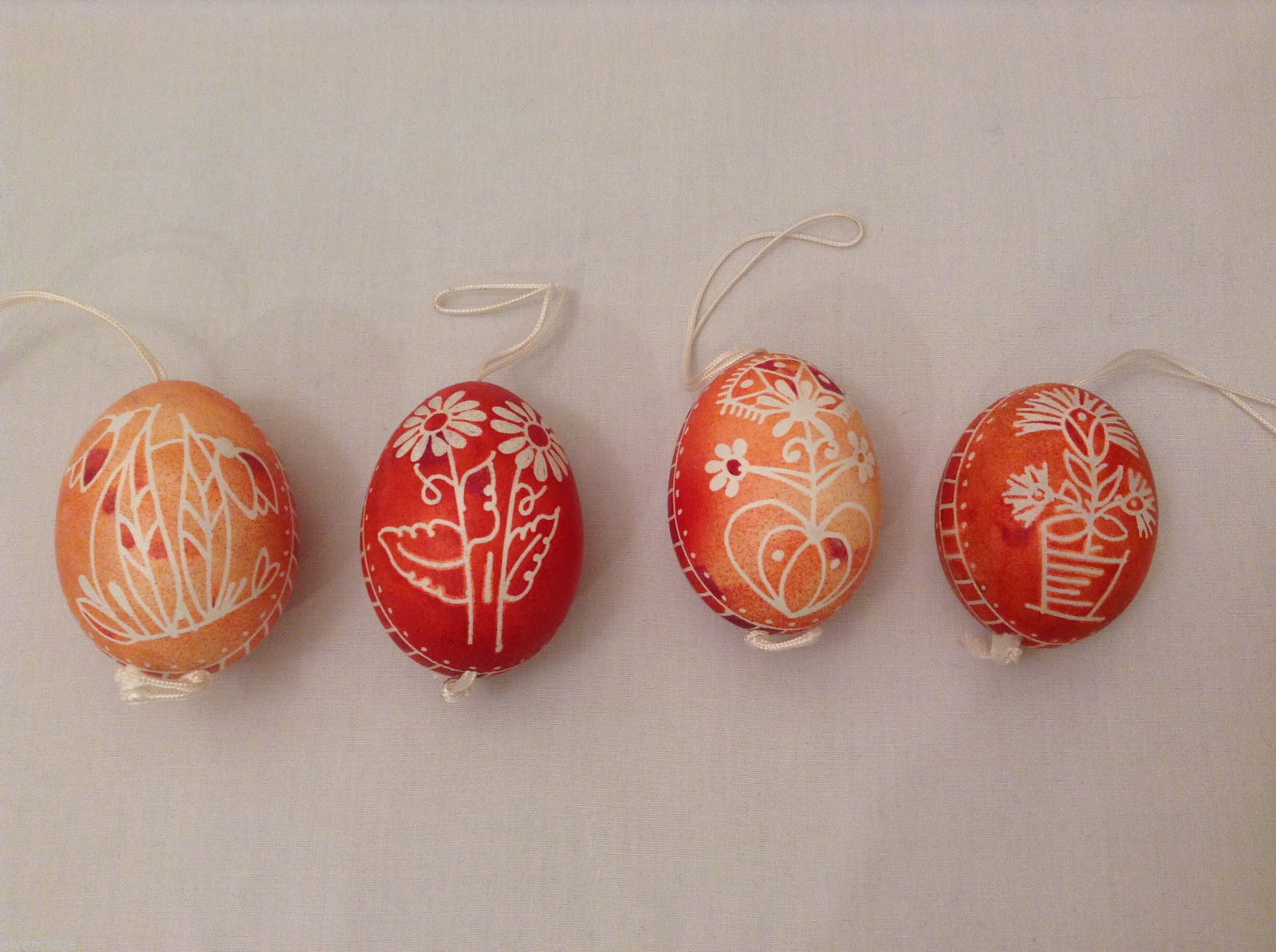 Set of 4 Red Wax-Resist Dyed Floral Flower Real Eggs Easter basket stuffer