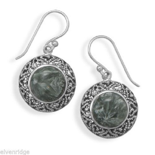 Oxidized Seraphinite Earrings Sterling Silver Base