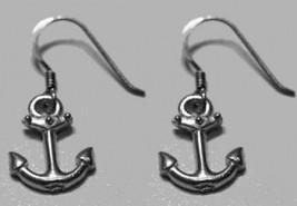 NICE sea Anchor boat ship Genuine Sterling Silver Dangle hook charm Earr... - $422,01 MXN