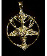 NICE Satan Goat Baphomet occult Pentagram Devil Gold Plated Sterling sil... - $80.12