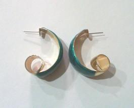 Vintage Faux Malachite Enameled Gold Tone Modernist Hoop Earrings - $26.00
