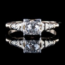 Vintage 1930's 14k Yellow & White Gold Diamond Solitaire Engagement Ring... - $1,045.00