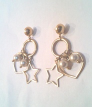 Hearts, Stars and Pearls Dangle Earrings - $32.00