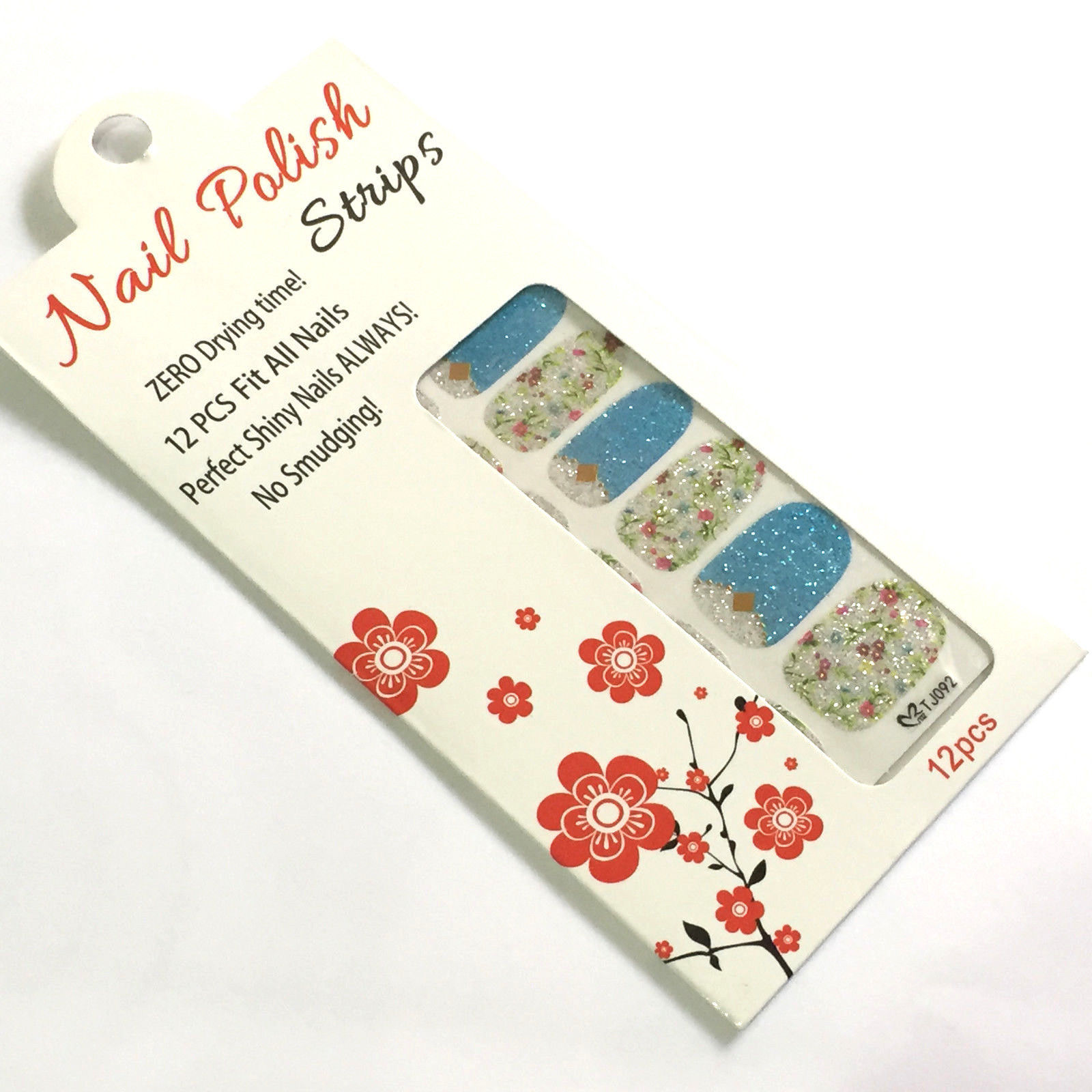 Primary image for Flower Gold Nail Polish Strips 12 pcs Fit All Nails Art Blue Floral Set Flowers
