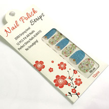 Flower Gold Nail Polish Strips 12 pcs Fit All Nails Art Blue Floral Set ... - $3.98