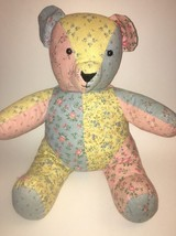 """Adorable Vintage Patchwork TEDDY BEAR 15"""" Hand Made Pastel Fabric Stuffe... - $19.64"""