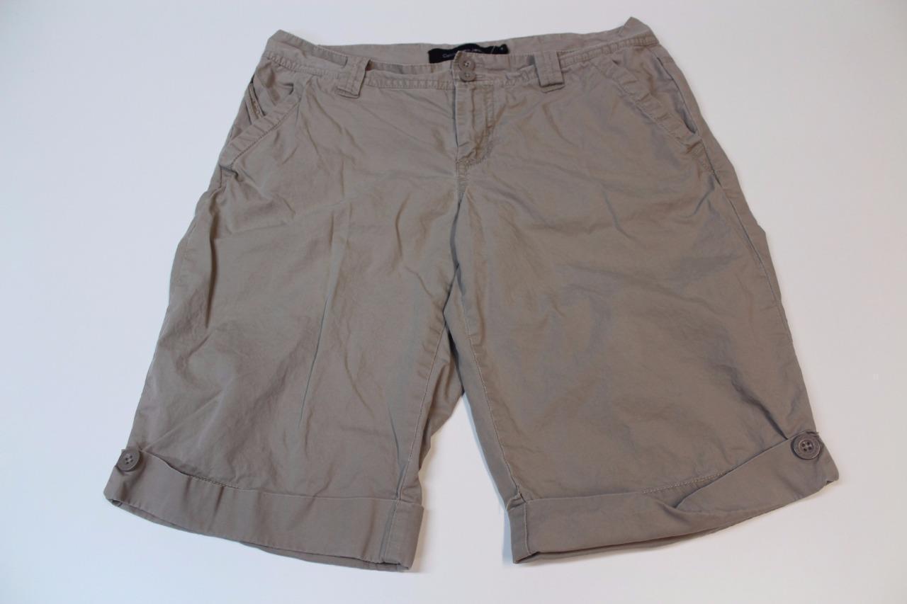 W12018 Womens CALVIN KLEIN JEANS 100% cotton khaki WALKING SHORTS, cuffed, 6 - $28.97