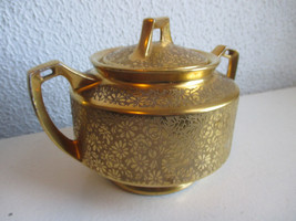 PA Arsberg Bavaria Gold Encrusted sugar bowl and lid - $10.88
