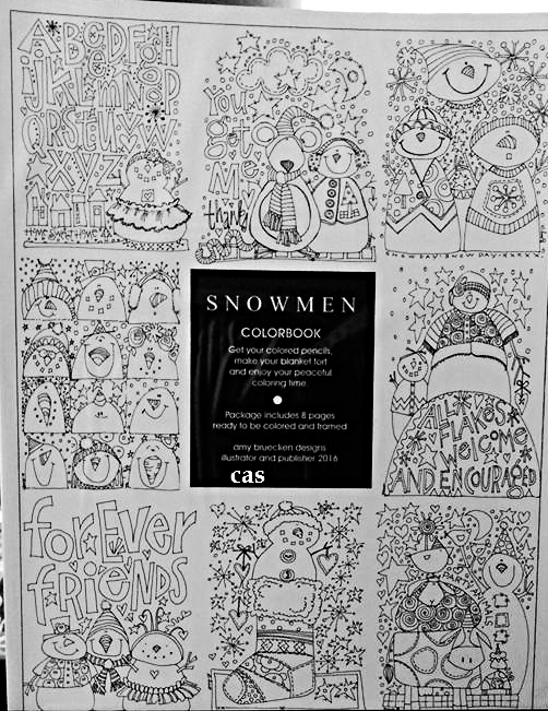 Snowmen Coloring Pages 8pcs adult coloring art drawing Amy Bruecken Designs