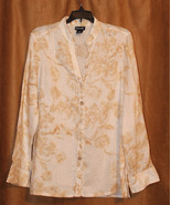 RAFAELLA LONG SLEEVE BUTTON DOWN OFF WHITE BEIGE FLOWER LINEN SHIRT TOP ... - $11.99