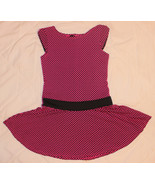 CUTE GEORGE BLACK PINK POLKA DOTS SOFT STRETCH DRESS DROP WAIST GIRL S 6-6X - $9.99