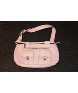 PALE PINK SMALL HANDBAG PURSE SHOULDER BAG POCKETS ZIPPER CLOSURE BELT B... - $1.00