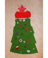 UNIQUE SIMON CHRISTMAS TREE TIERED DRESS RED STAR HEADBAND 2 PIECE OUTFI... - $14.99