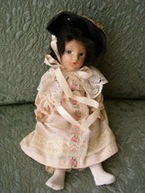 1920-30s 11-Inch Composition  Doll in Pink Gown and Black Hat - $31.30