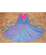 GORGEOUS FLOWERS BY ZOE BOUTIQUE BLUE CROCHET LINED IN PINK SLEEVELESS D... - $17.99