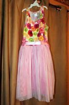 NEW GUESS BEAUTIFUL MULTICOLOR FLOWERS PINK MESH SKIRT SLEEVELESS DRESS ... - $14.99