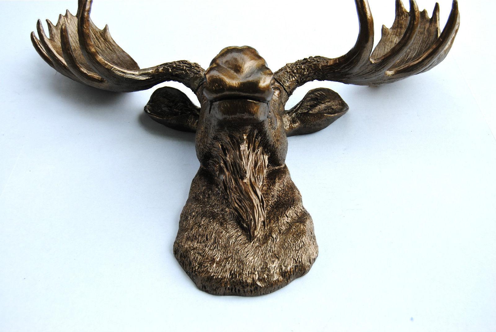 Resin Faux Taxidermy Metallic Bronze Moose Head Faux